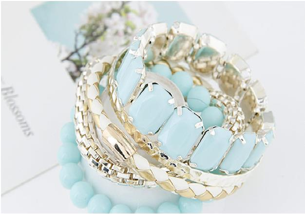 Multi-Layer Mix Fashionable Bracelet - Light Blue