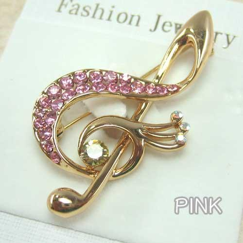 Music Notes Treble Clef with Rhinestones Gold-Plated Brooch
