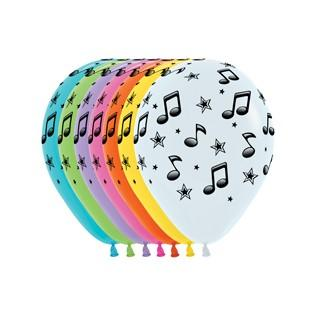 Musical Notes Infinity Round Balloons 12ct Music Birthday Party