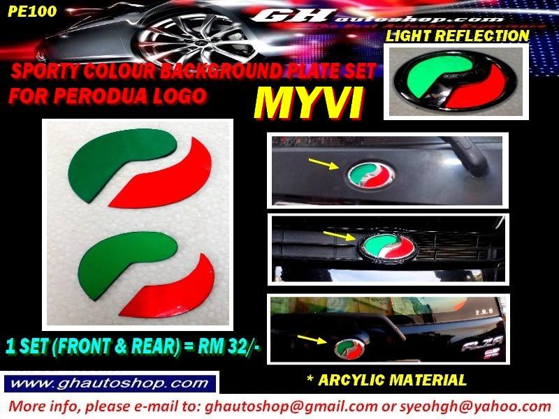 MYVI SPORTY REFLECTING TYPE COLOUR PLATE FOR PERODUA LOGO PART PE100
