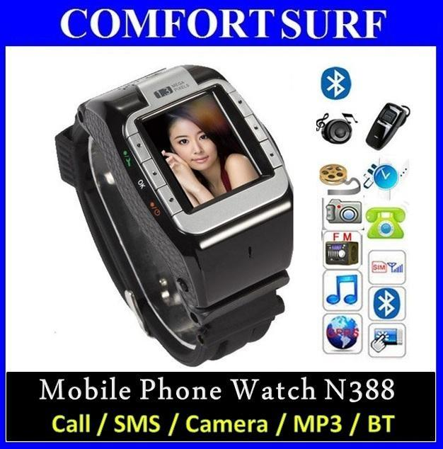 N388 Wrist Watch Touch Screen Phone /w Camera + Bluetooth + MP3/MP4