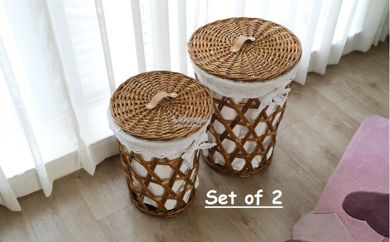 Nature Rattan Dirty Clothes Storage Basket, Toy Storage Box with Lid