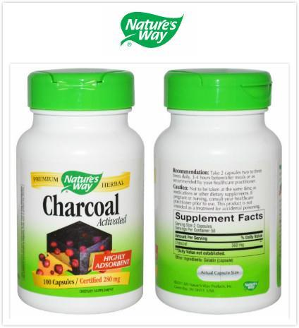 Nature's Way, Activated Charcoal, 280mg, Highly Adsorbent (100 Caps)