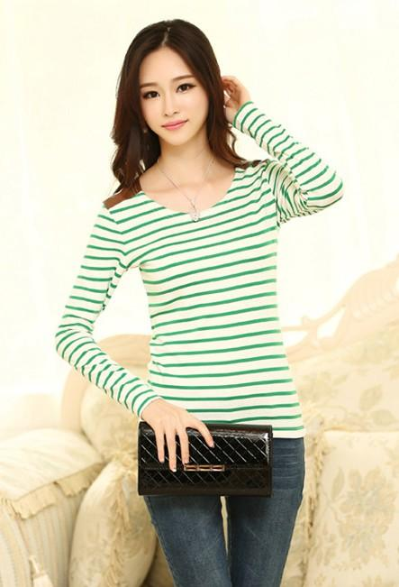 Navy Stripe Long-sleeve Blouse (Green)