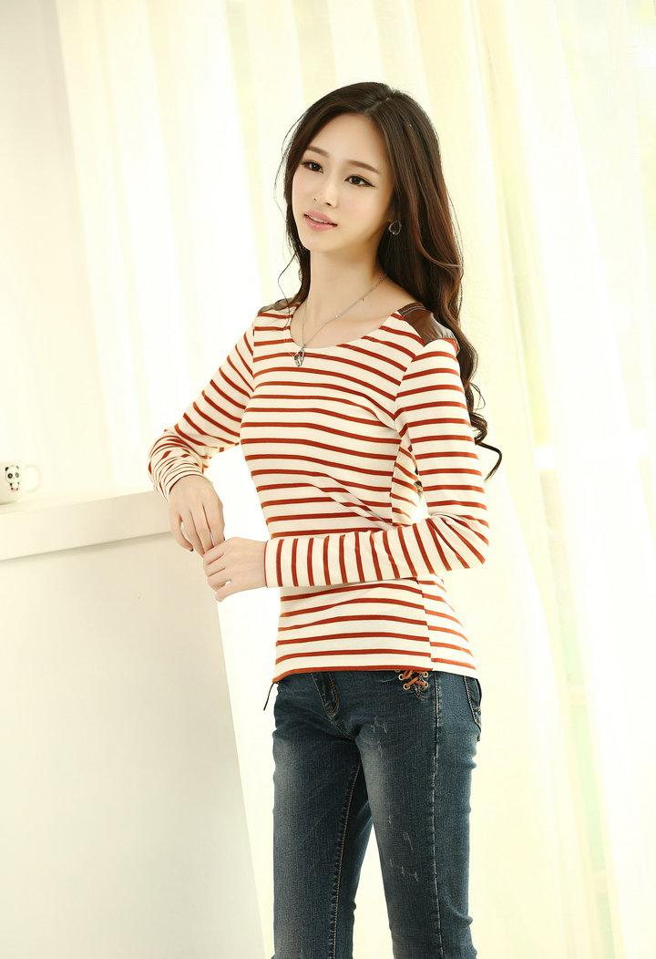 Navy Stripe Long-sleeve Blouse (Wine Red)