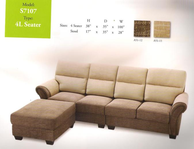 NiceHome Furniture Mega Offer of 4L-shape sofa model - 7107