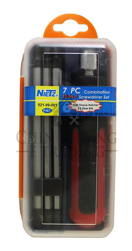Nietz 544-99-001 7 PCS 12 in 1 Super Duty Ratchet Screwdriver Set