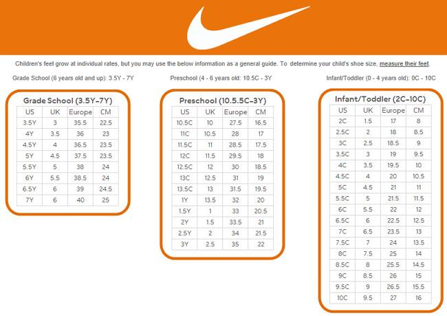 Buy nike shoe size chart free shipping for worldwide off59 the