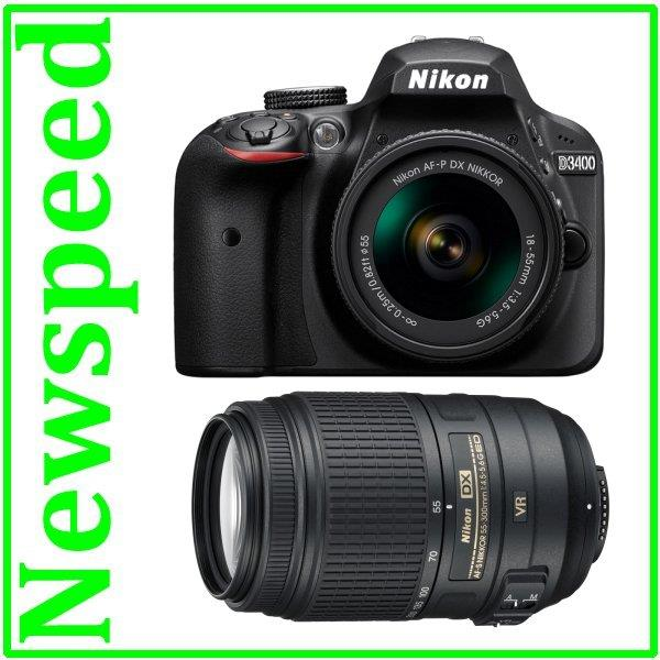 Nikon D3400 18-55mm + 55-300mm VR Lens Digital Camera +8GB+Bag New