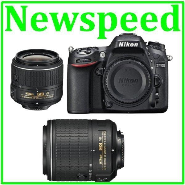 New Nikon D7100 18-55mm + 55-200mm Twin VR II Lens +8GB+Bag