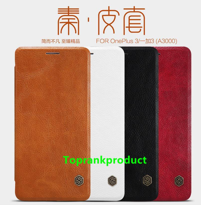 Nillkin OnePlus Three One Plus 3 Flip Leather Case Cover Casing +Gift
