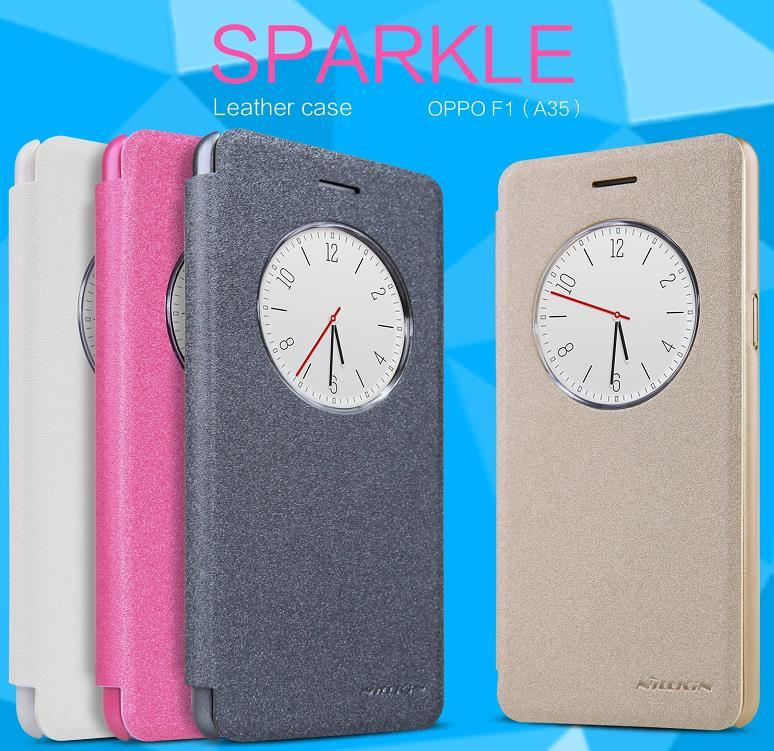 Nillkin OPPO F1 A35 Flip Smart Sparkle Case Cover Casing + Free Gift