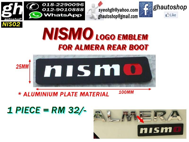 NISMO LOGO EMBLEM FOR ALMERA REAR BOOT NIS02
