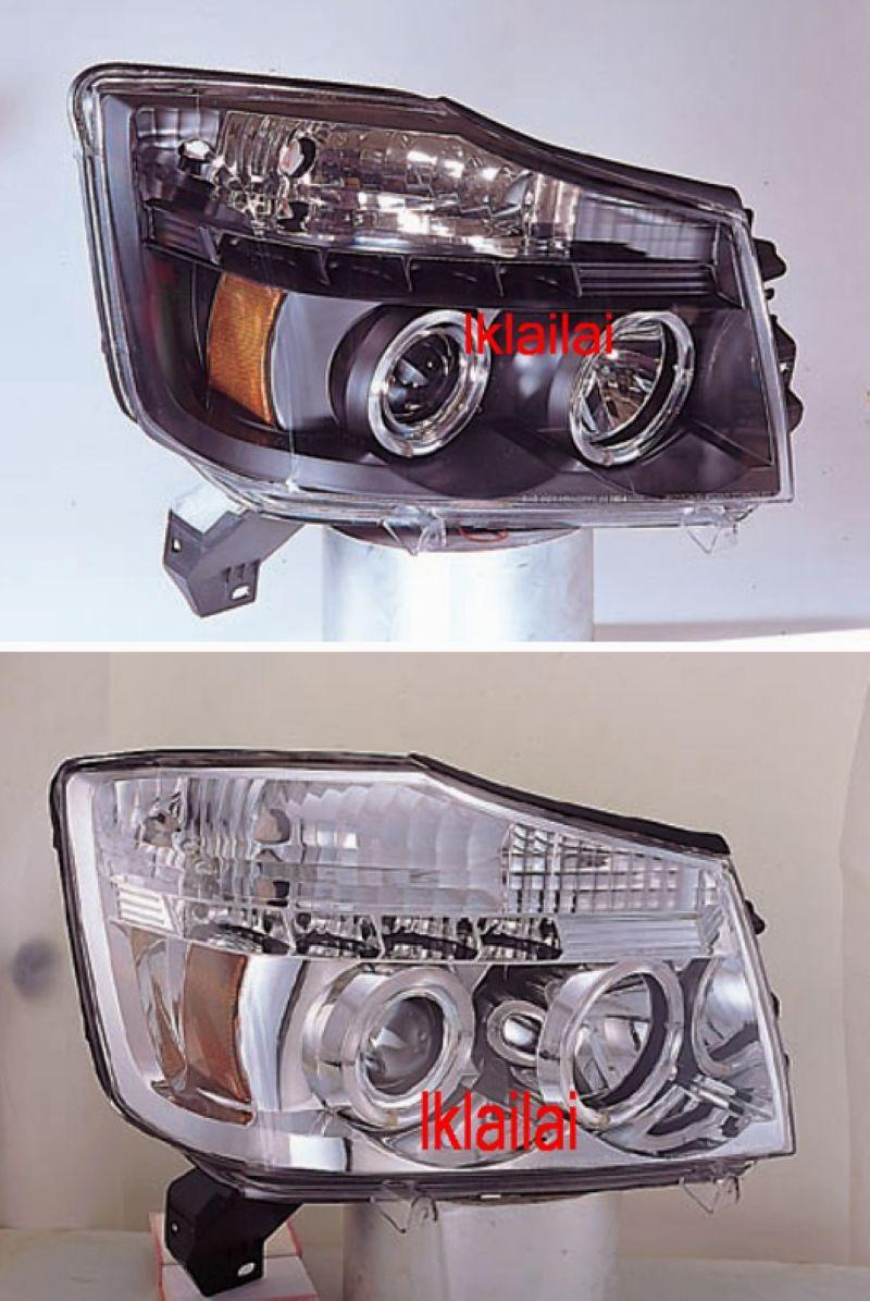 Nissan Titan 04-07 LED Ring Head Lamp DRL R8 [Black/Chrome Housing]
