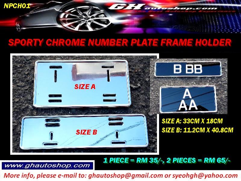 NUMBER PLATE CHROME TYPE PLATE HOLDER NPCH01