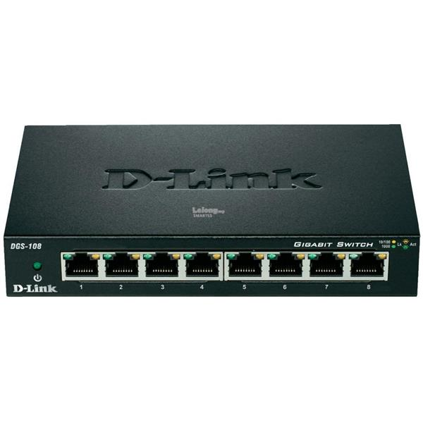 NW. D-LINK NETWORK SWITCH 8P GGB W/ STEEL CASE DGS-108
