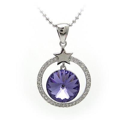 O Ring Circle (Purple) 18K White Gold Plated Austrian Crystal Necklace