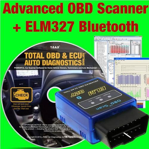 OBD2 Software + ELM327 Bluetooth Scanner