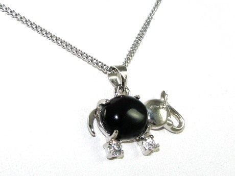 Obsidian Elephant Pendant with Necklace