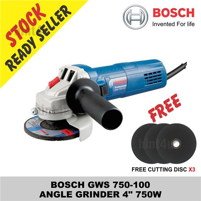 "(OFFER) BOSCH GWS 750-100  ANGLE GRINDER 4"" 750W free cutting disc x3"