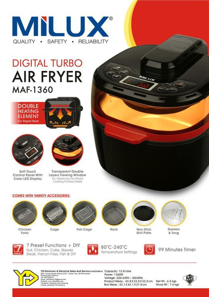 [Best Offer!!] Milux Digital Turbo Multifunction Air Fryer MAF-1360