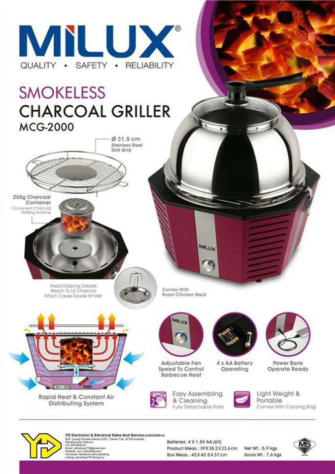 [Best Offer!!] Milux Electric Smokeless Charcoal Griller MCG-2000