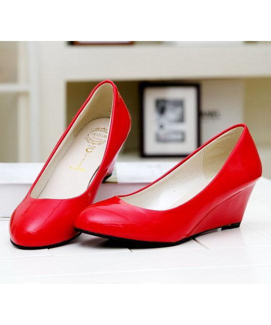 OL-style Enamel Leather Wedge Heel Pump Shoes (Red)