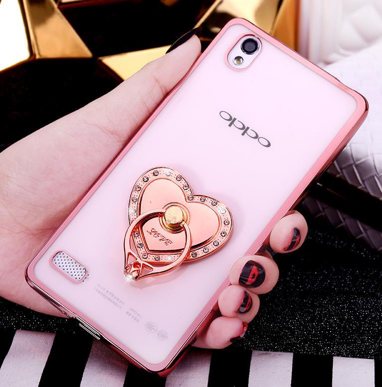 OPPO Mirror 5 5S A51 Silicone Case Cover Casing + Diamond Ring Stand
