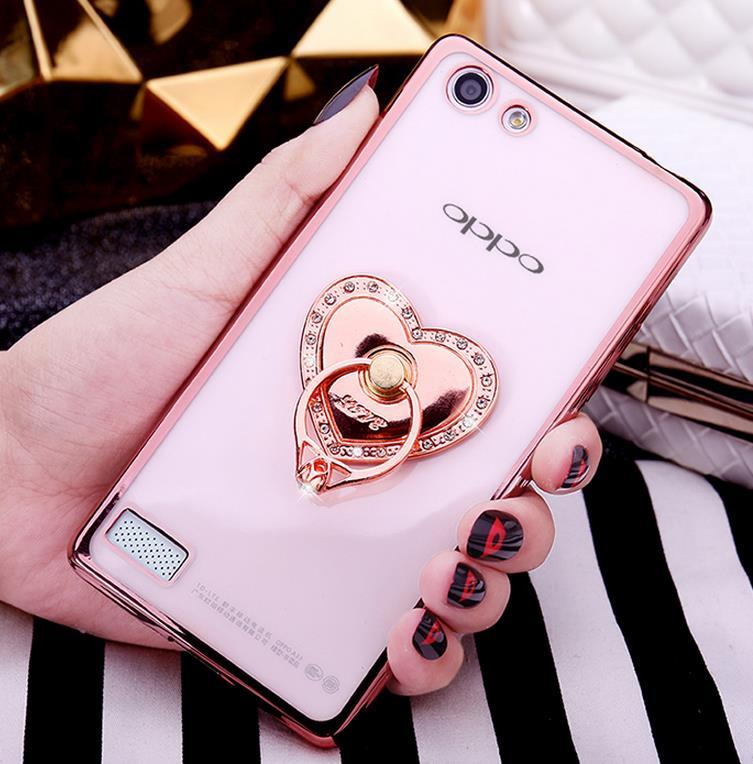 OPPO Neo 7 A33 Silicone Case Cover Casing + Diamond Phone Ring Stand