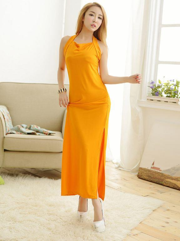 Orange Long Dress Nightdress Lingerie with Gstring MA412
