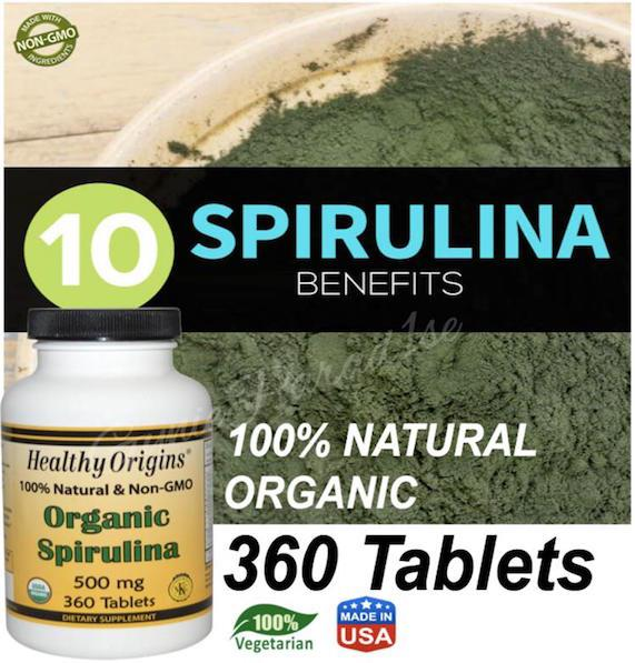 Organic Spirulina, 500mg, 360 Tablets, 100% Vegetarian (USA)