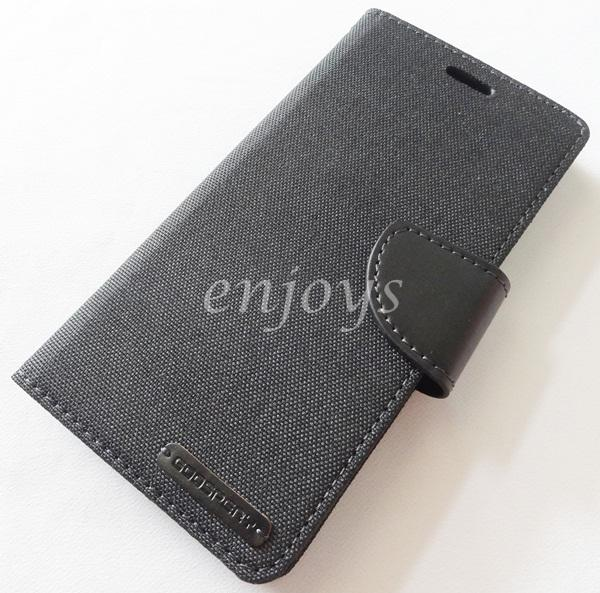 ORI Mercury Canvas Diary Case Cover Sony Xperia M4 Aqua / Dual ~BLACK