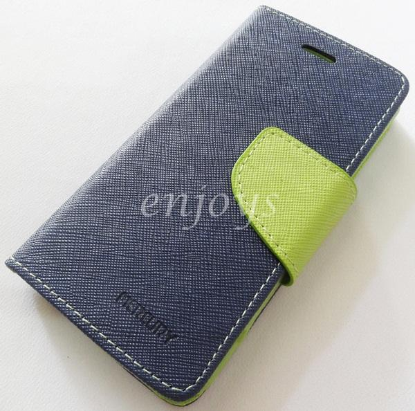 ORI MERCURY Fancy Diary Book Case Cover Pouch Apple iPhone 5 5S ~NAVY