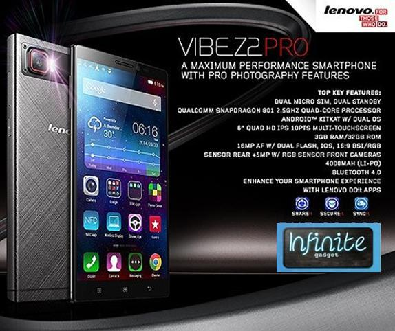"(ORIGINAL) Lenovo Vibe Z2 Pro K920 16MP 3+32GB 6.0"" LongLife Battery"