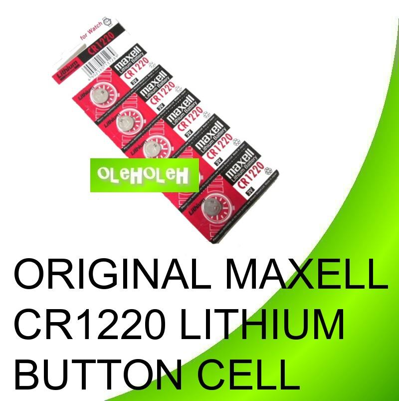 Original Maxell CR1220 Lithium Button Cell Watch Battery (1Pack 5pcs)