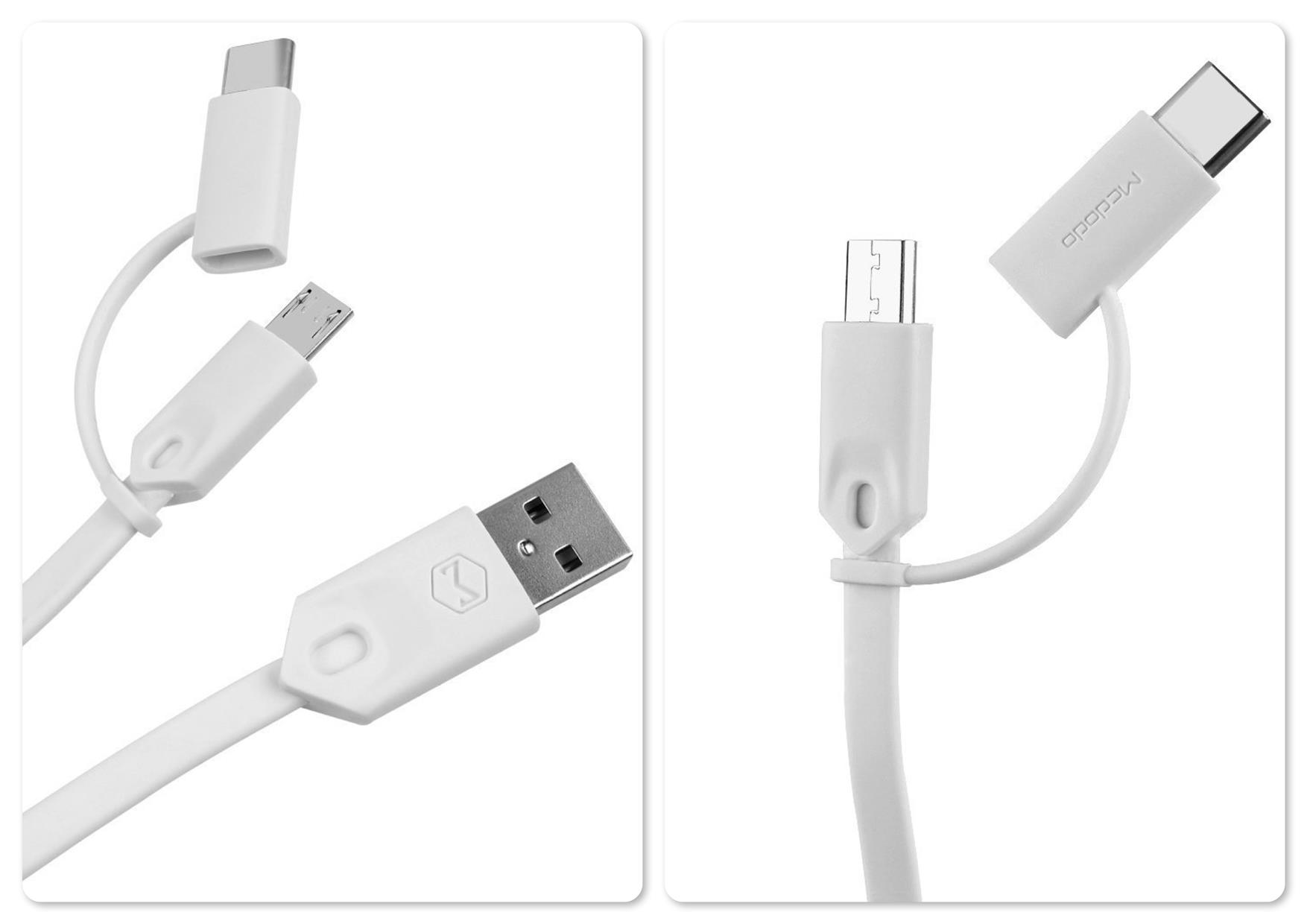 Original Mcdodo 2 in 1 MicroUSB + Type-C Adapter Data Cable