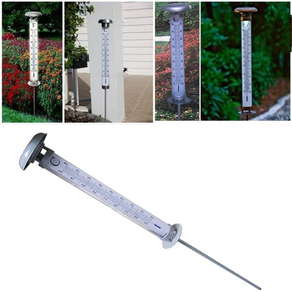 Outdoor Solar Powered LED Thermometer Landscape Garden Yard Lawn Light