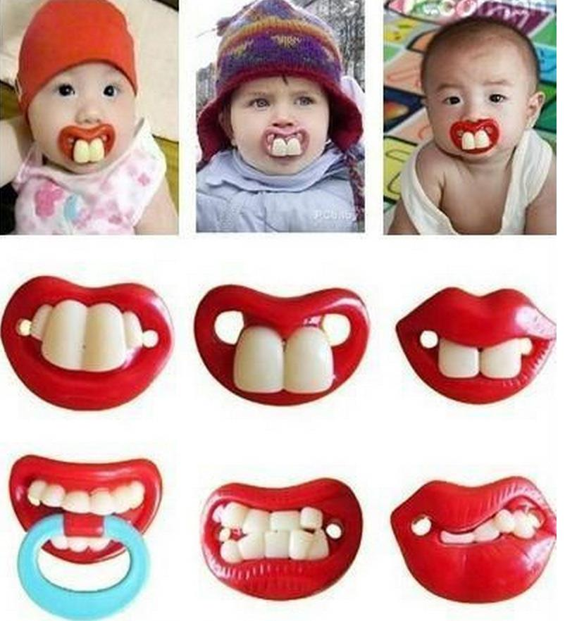 oyful baby Two Front Teeth Baby Pacifier with Red Lips