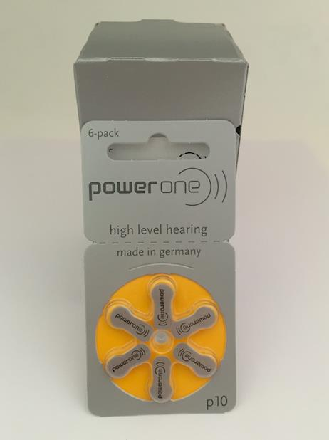 P10 PowerOne Zinc Air Hearing Aid Battery 1.45V - A Pack of 6 Pieces