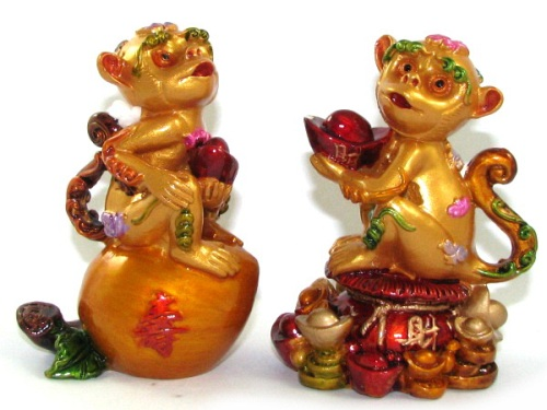 Pair of Auspicious Monkeys Figurines on Peach and Wealth - CNY 2016