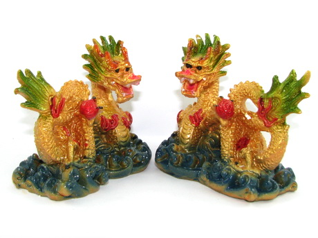 Pair of Feng Shui Dragons for Double Good Fortune Luck