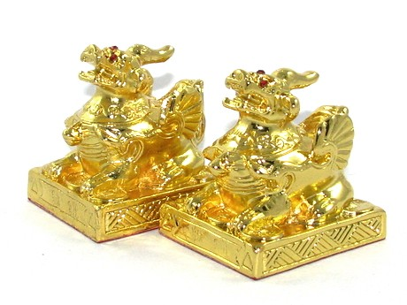 Pair of Golden Brass Pi Yao for Gambling and Wealth Luck - Pi Chiu