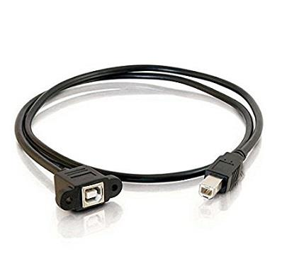 Panel Mount USB Cable BM to BF with Mounting