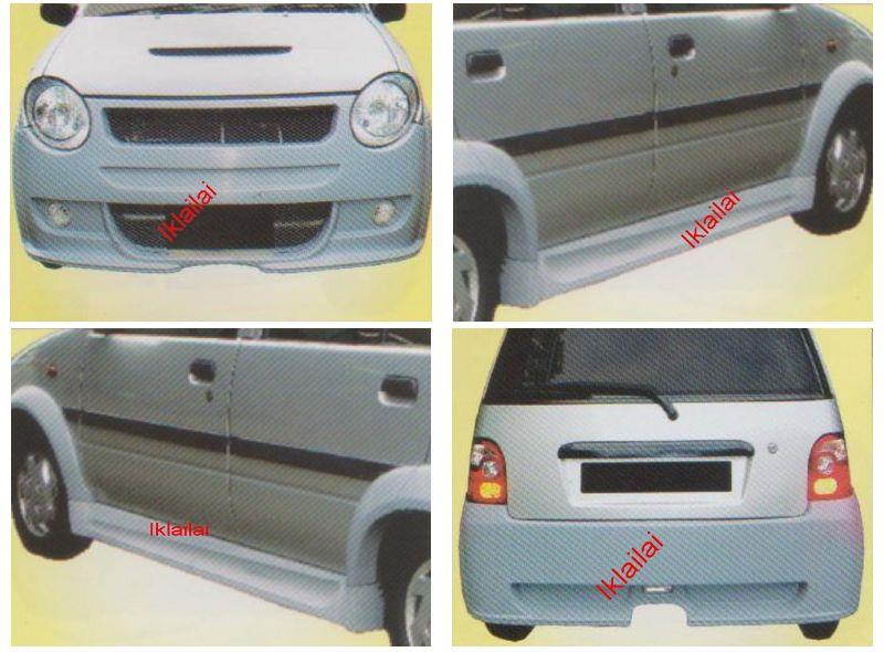Perodua Kancil '02 Mini Cooper Front + Rear Bumper+Side Skirt Body Kit