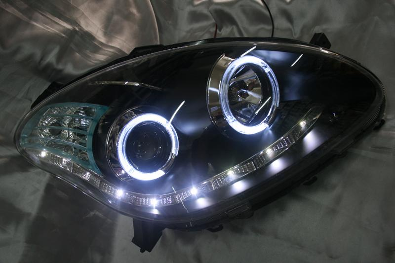 Perodua Myvi 05 Black Face Projector Headlamp w LED Ring & DRL