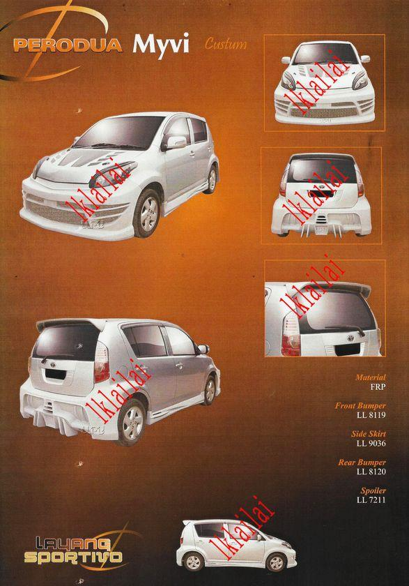 Perodua Myvi '05 Custum Style Full Set Body Kit Fiber [Bumper/Skirt]