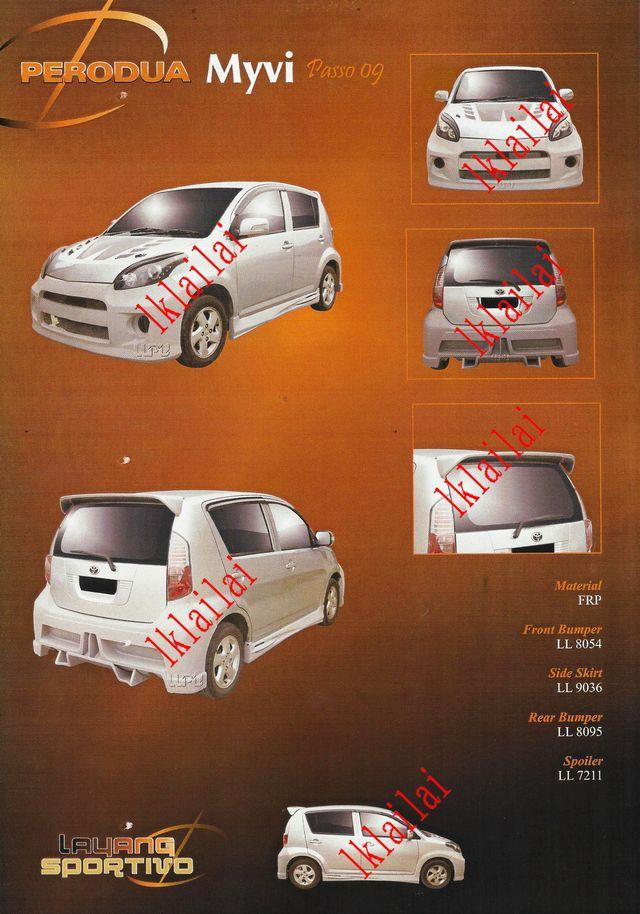 Perodua Myvi '05 Passo 9 Style Full Set Body Kit Fiber [Bumper/Skirt]