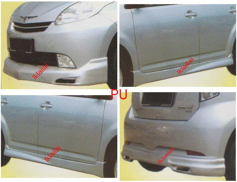 Perodua Myvi Mugen Full Set Skirting Body Kit Front+Side+Rear Skirt PU