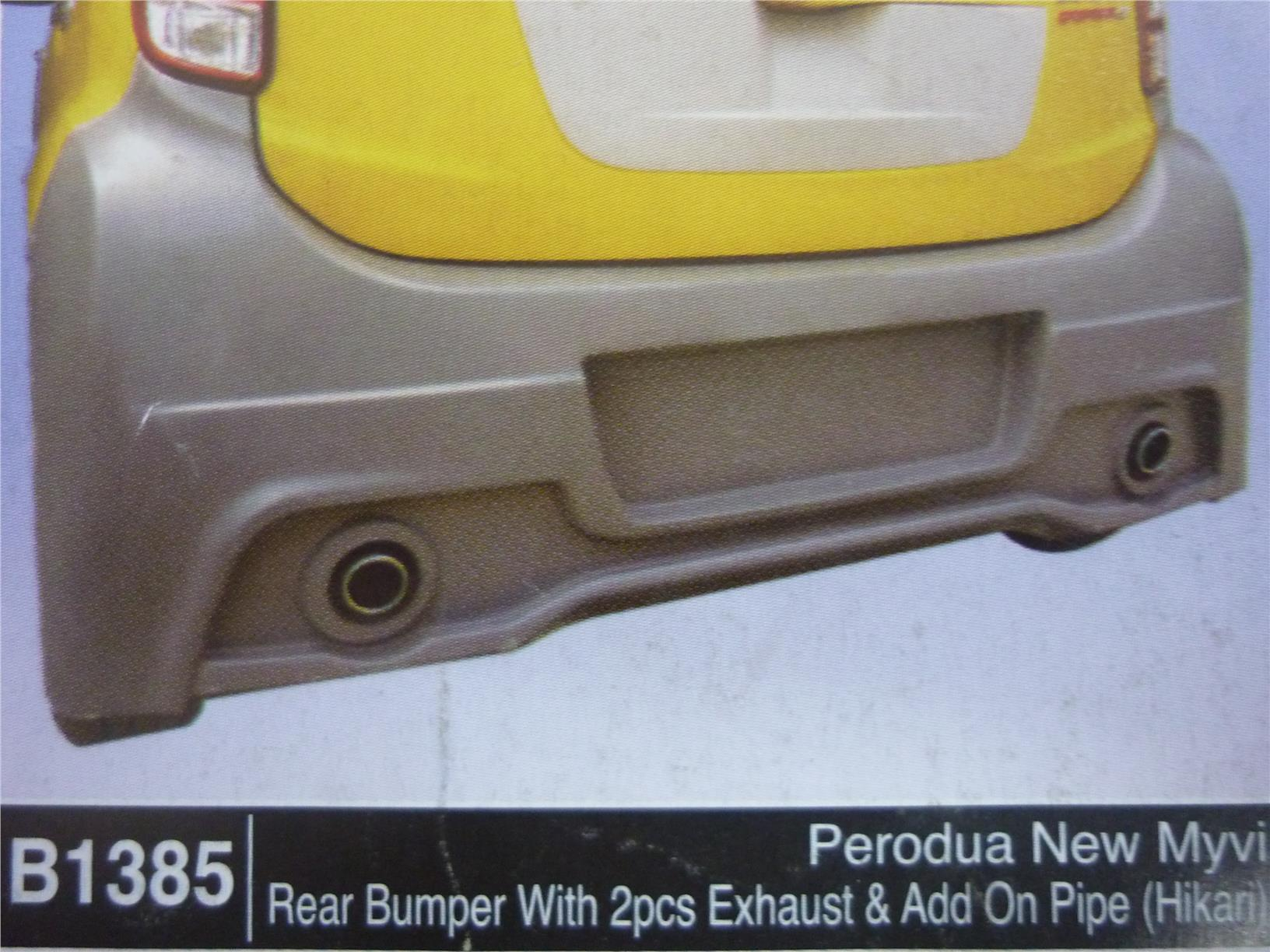 PERODUA NEW MYVI REAR BUMPER WITH 2PCS EXHAUST AND ADD ON PIPE B1385