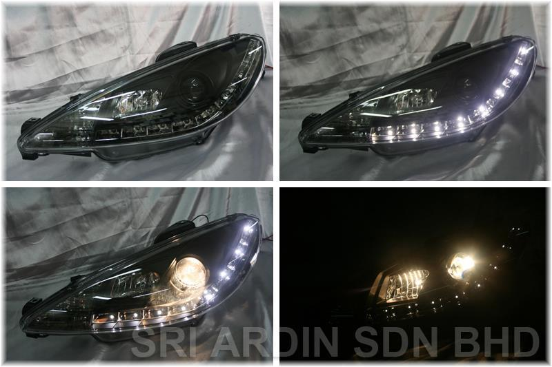 Peugeot 206 Black Projector Headlamp w LED